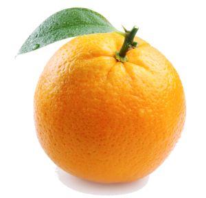 ripe orange with leaves on white background